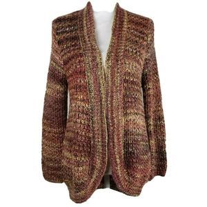 Chicos Cardigan Sweater Multicolor Brown Marled 1